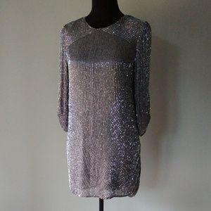 PARKER dark gray silk beaded dress